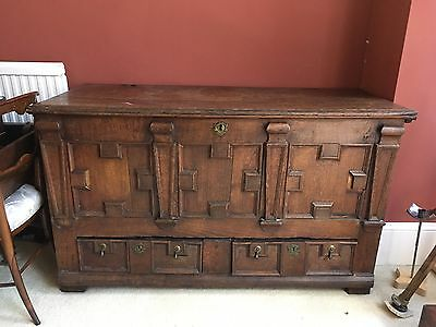 mid 17th century oak mule chest staple hinges and with intact candle box