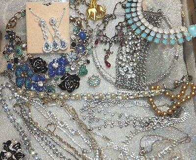 HUGE Vintage RHINESTONE Jewelry LOT CRYSTALS CZ'S BONUS 1200gms  SS 925 JEWELRY