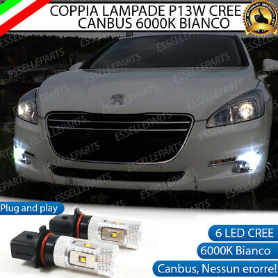 Coppia Lampade P13W 6 Led Cree Drl Luci Diurne Peugeot 508 Canbus 6000K