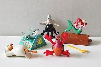 1998 Little Mermaid Set Of 5 Mcdonalds Happy Meal Toys