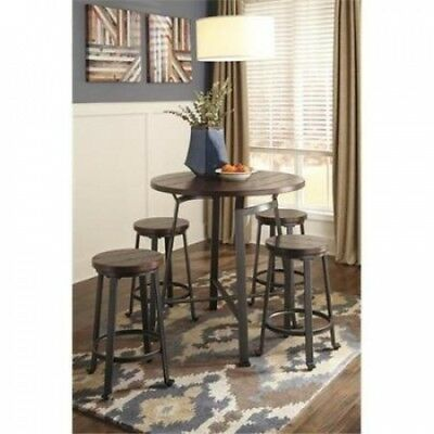 Ashley D307-13 Challiman Round Drm Counter Table - Rustic Brown. Best Price