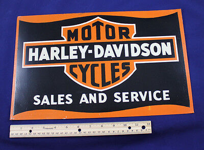HARLEY DAVIDSON MOTORCYCLES VINTAGE SALES SERVICE SIGN Painted NO DISPLAY HOLES