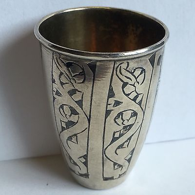 Antique Fine Russian Niello Decorated Solid 875 Silver Vodka Cup Gilt Interior