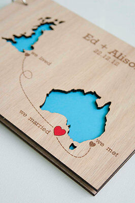wood guest book personalized, wooden wedding photo album, wood rustic guest book