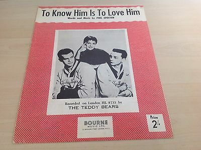 To Know Him Is To Love Him Recorded by The Teddy Bears Original Sheet Music