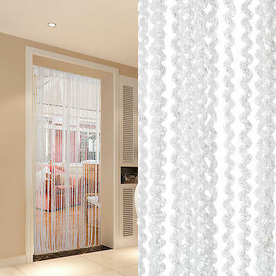 White  Beaded String Curtain Door Room  Divider  Window Screen Decoration