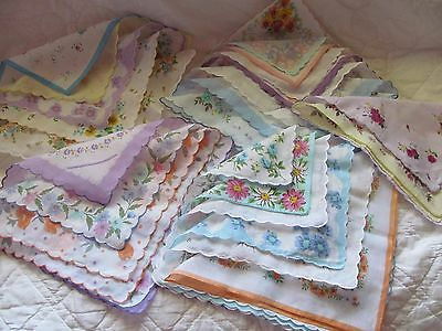Estate Lot 25 New Floral Flower Scalloped Handkerchief Hankies Beautiful