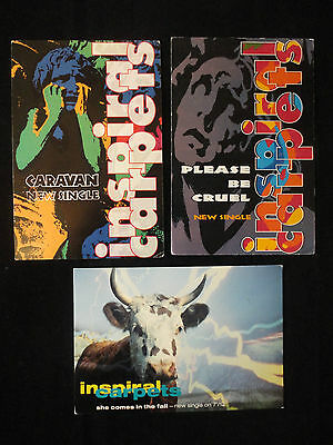 Inspiral Carpets 3 Postcards Music Trade Mute New Releases Postmarked 1990-91