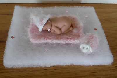 2.5 In Miniature Polymer Clay Ooak Girl Baby Doll ~ With Handmade Pink Lamb