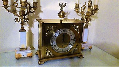 German Brass Case Westminster Chimes, Bracket / Mantel Clock by Haller Foreian