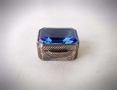 Antique, Stunning Italian Small .800 Silver Pill Box With Blue Jeweled Lid