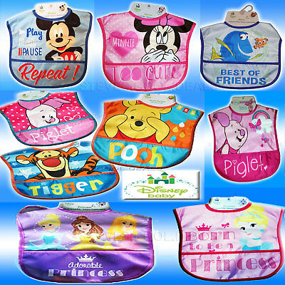 DISNEY BABY BIBs CRUMB CATCHER EASY CLEAN WINNIE POOH TIGGER PIGLET MINNIE MOUSE