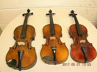 3 old Violins with cases, 1  Bow with the makers name Tourte.