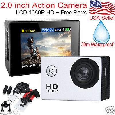 """2.0"""" Ultra HD 1080P LCD Waterproof Action Camera Sports Camcorder DV Cam + Case"""