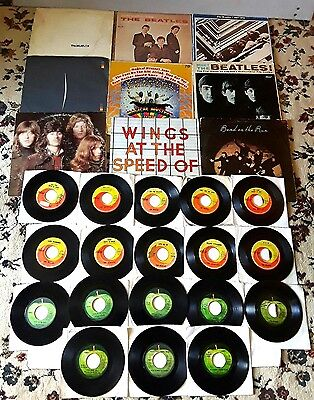 The Beatles 27 Vinyl Record Lot 9 LPs Badfinger Wings 18 - 45s RPM Capital Apple