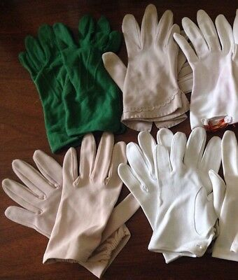 Lot Of 5 Pairs Vintage Formal Gloves ~ White Green Beige Size 7