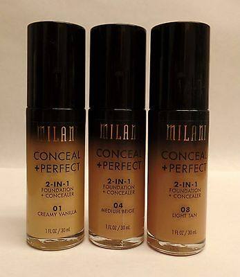 Milani Conceal and Perfect 2 in 1 Foundation and Concealer CHOOSE YOUR SHADE