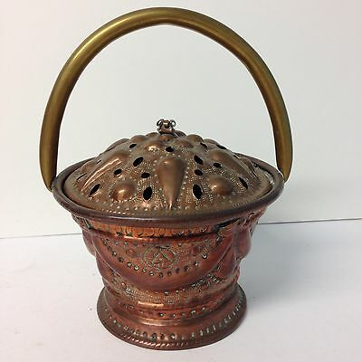 Antique Decorative Embossed Copper Pot With Brass Carrying Handle Holes In Lid