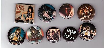 Bon Jovi Lot Of 9 80's 90's Buttons Pins / New Jersey / Living In Sin