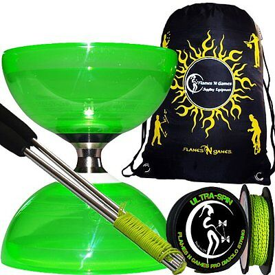 Triple Bearing Diabolo set Cyclone QUARTZ Green Metal Diabolo Sticks, 10m Pro &