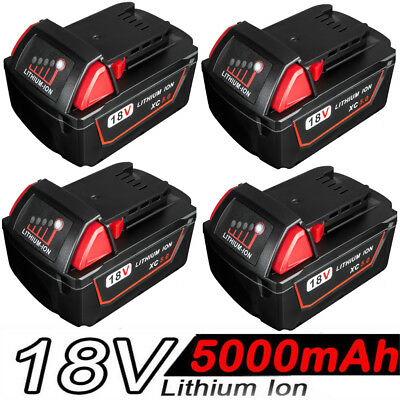 4x 5.0Ah 18V Red Lithium Ion XC 5.0 Battery For Milwaukee M18 M18B4 48-11-1828