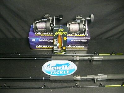 2Pk Okuma Magda Pro 45Dx 7' Rods Pre-Spooled Leadcore 7 Color Combos Free Spoon