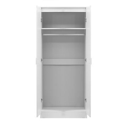 2 Door Soft Close Plain Wardrobe REFLECT in Gloss White / Matt White - Bedroom