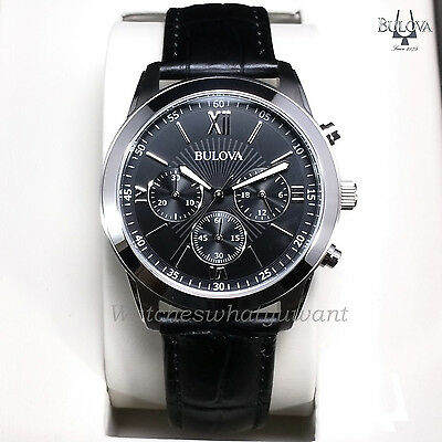 Bulova Men's Chronograph Watch Stainless Steel Black Leather New Rrp £199