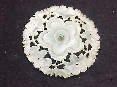 Antique Chinese Jade China Pendant White Green Carving Flower Dragon Circle Life