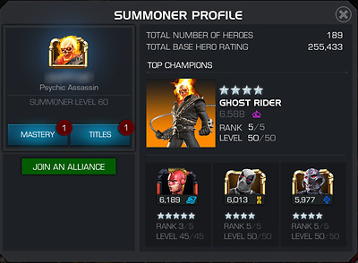 Marvel Contest of Champions account 255k 7 5/50, 3 Duped 5* and 21k of 5* Shards