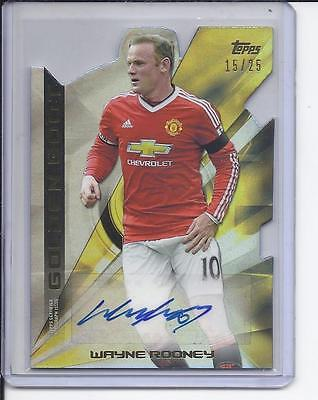 2015 Topps Premier Gold Golden Boot Die-Cut Autograph Wayne Rooney /15/25