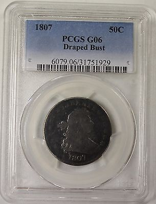 "1807 25c PCGS G-6 - EarlyType Coin - Bust Quarter - PCGS Error Label ""50C"""