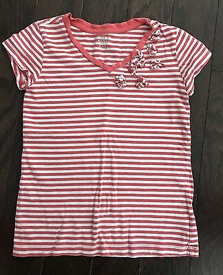 Girls Place Shirt, White And Pink Stripes, Size S 5/6