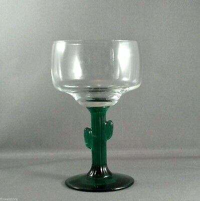Libbey Cactus Margarita Glass 10 oz Clear Glass Bowl with Green Stem
