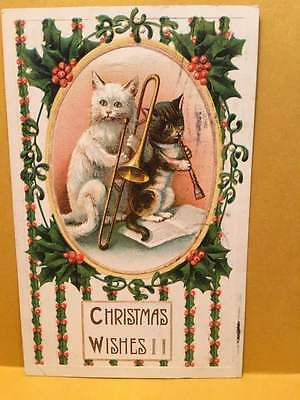 1910 Christmas card with two Cat-Musicians playing Trombone and Clarinet