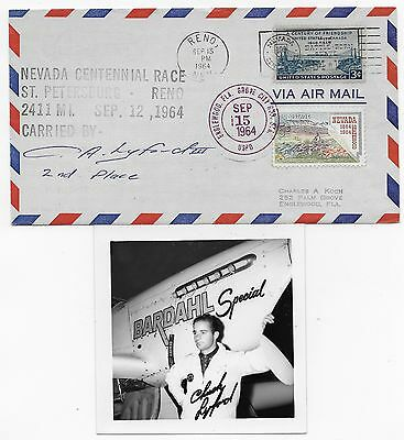 1964 Signed Cover/photo Chuck Lyford 2Nd St. Petersburg To Reno Race