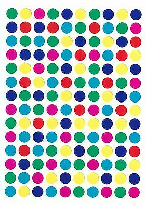 9mm Coloured Dots Round Stickers Sticky, Self Adhesive Spot Circle Paper Labels