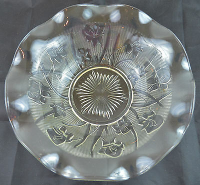 """Vintage 9 1/2"""" CLEAR GLASS BOWL Ruffled Flower"""