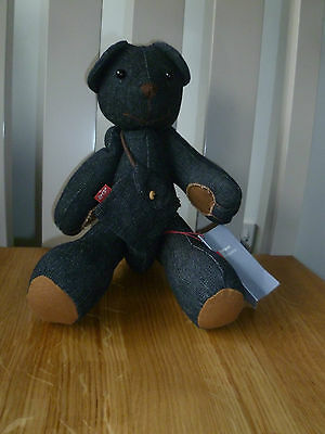 """New Levis Jeans Red Tab Blue Denim Teddy Bear With Bag Measures 14"""" High Ex Con"""