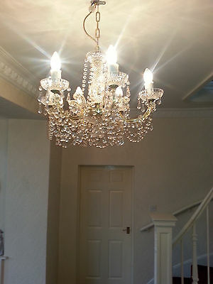 Vintage Bohemian Crystal 6 Light Chandelier and 2 Wall Lights