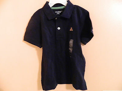 NWT babyGAP toddler boy short sleeve polo, pique navy blue w/GAP bear logo 2T