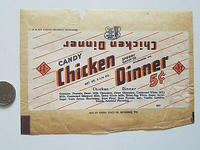 CANDY CHICKEN DINNER 1940's candy wrapper Sperry buy War bonds and Stamps