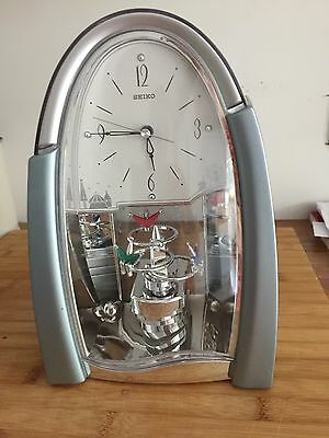 Large Silver Mantel Clock With Rotating Figures Silent Tick
