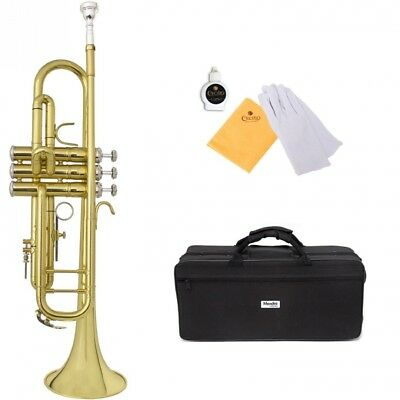 Mendini by Cecilio MTT-30L Bb Gold Lacquered Trumpet with Monel Valves