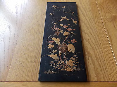 Pretty Antique Japanese Meiji Plaque Embossed With Butterfly Flowers And Foliage