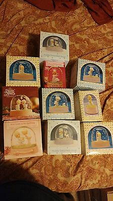 LOT of 10 Precious Moments Snow Globes & wind  Up musical vintage in box NOS NEW