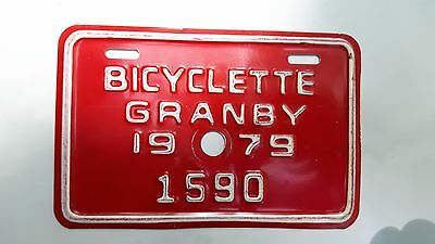 Rare 1979 Granby  Bicycle  License Plate 1590 Quebec Canada