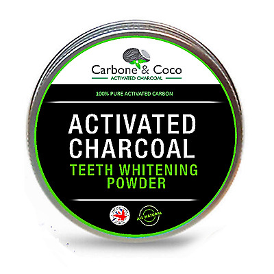 Carbone & Coco Natural Organic Activated Charcoal Tooth Teeth Whitening Powder