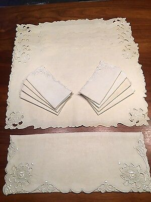 SET 17 pcs VINTAGE EMBROIDERED Cutwork Linen Placemats Napkins Runner