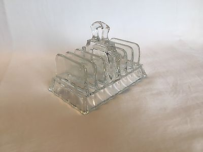 Vintage glass toast rack, believed to be Art Deco (6 Slice)